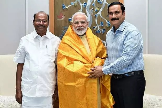 PMK founder S. Ramadoss (left) and Dr. Anbumani Ramadoss (right) with PM Narendra Modi