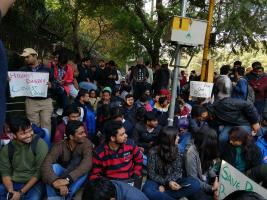 students protesting outside Department of Science and Technology