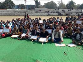 sc st employees association dharna in dehradun