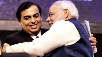 Mukesh Ambani and Narendra Modi